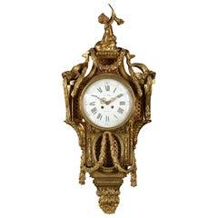 19th Century French Louis XVI Style Gilt Bronze Cartel Clock by Le Roy, Paris
