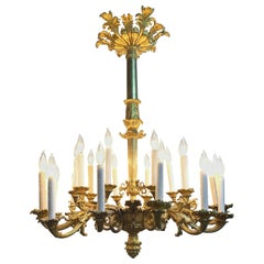 19th Century French Louis XVI Style Gilt Bronze Chandelier
