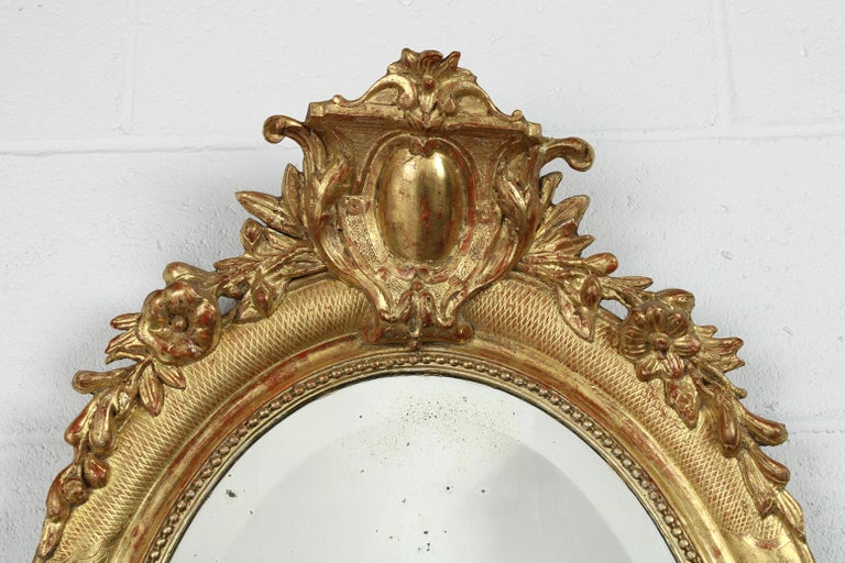 Gesso 19th Century French Louis XVI Style Gilt Oval Mirror For Sale