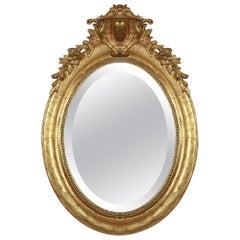 19th Century French Louis XVI Style Gilt Oval Mirror