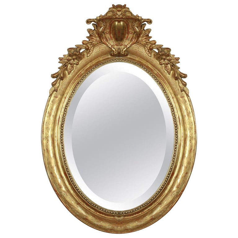 19th Century French Louis XVI Style Gilt Oval Mirror For Sale
