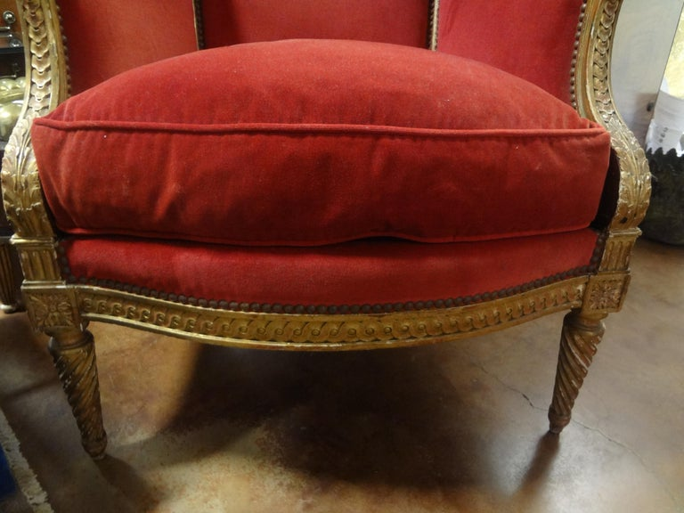 19th Century French Louis XVI Style Giltwood Bergère In Good Condition For Sale In Houston, TX