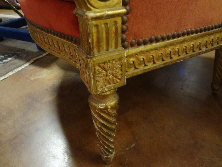 19th Century French Louis XVI Style Giltwood Bergère For Sale 1