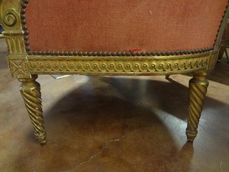 19th Century French Louis XVI Style Giltwood Bergère For Sale 5
