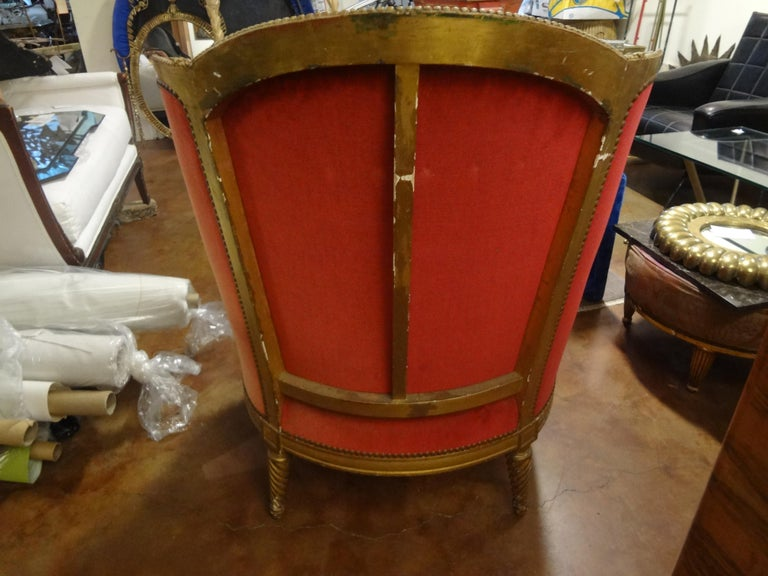 19th Century French Louis XVI Style Giltwood Bergère For Sale 6
