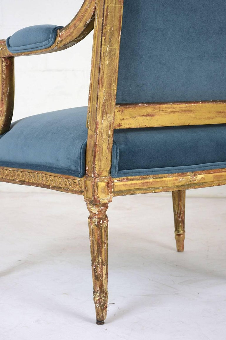 19th Century French Louis XVI Style Giltwood Bergères For Sale 6