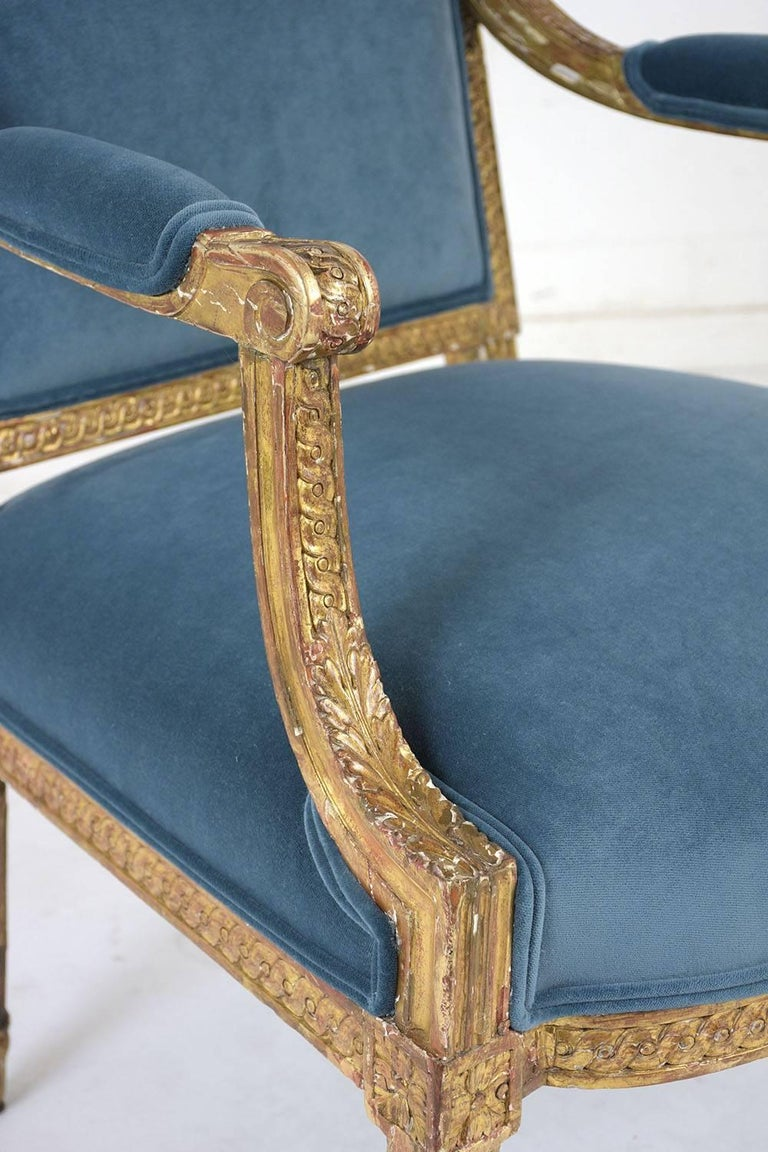 19th Century French Louis XVI Style Giltwood Bergères For Sale 8