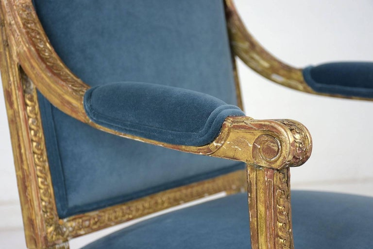 19th Century French Louis XVI Style Giltwood Bergères For Sale 9