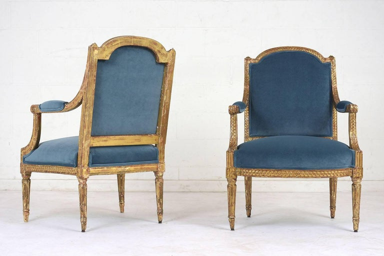 Carved 19th Century French Louis XVI Style Giltwood Bergères For Sale