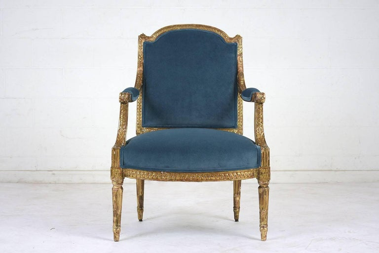 Velvet 19th Century French Louis XVI Style Giltwood Bergères For Sale