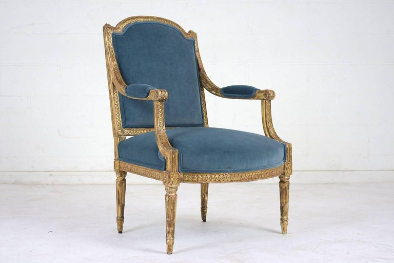19th Century French Louis XVI Style Giltwood Bergères For Sale 1