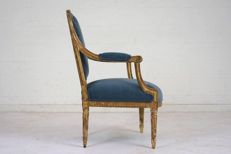 19th Century French Louis XVI Style Giltwood Bergères For Sale 2