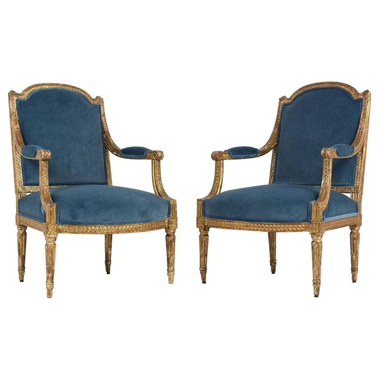 19th Century French Louis XVI Style Giltwood Bergères For Sale