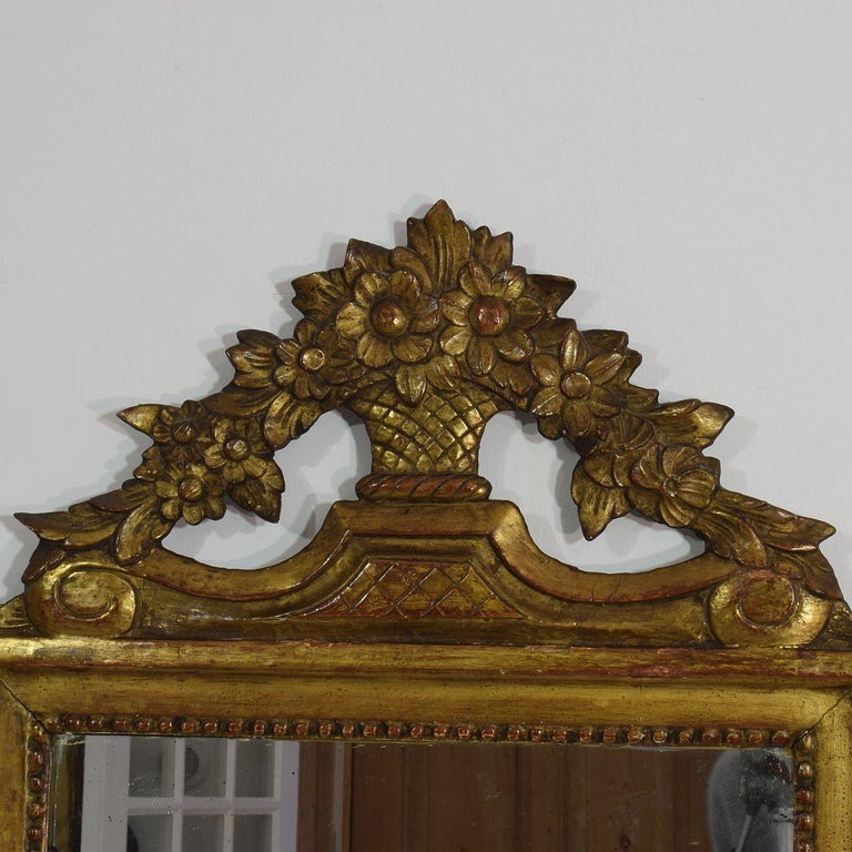 Hand-Carved 19th Century French Louis XVI Style Giltwood Bridal Mirror