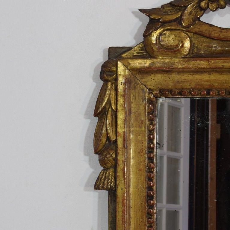 19th Century French Louis XVI Style Giltwood Bridal Mirror In Fair Condition In Amsterdam, NL