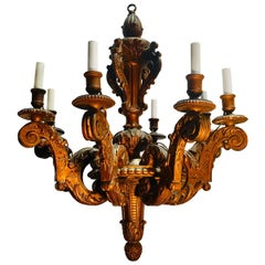 19th Century French Louis XVI Style Giltwood Chandelier