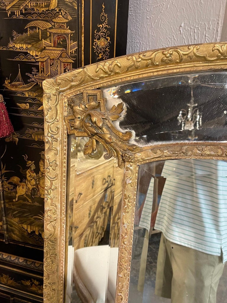 19th Century French Louis XVI Style Giltwood Cushion Mirror with Glass Panels In Good Condition For Sale In Dallas, TX