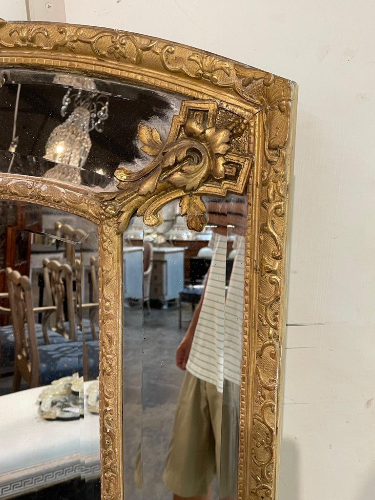 19th Century French Louis XVI Style Giltwood Cushion Mirror with Glass Panels For Sale 1