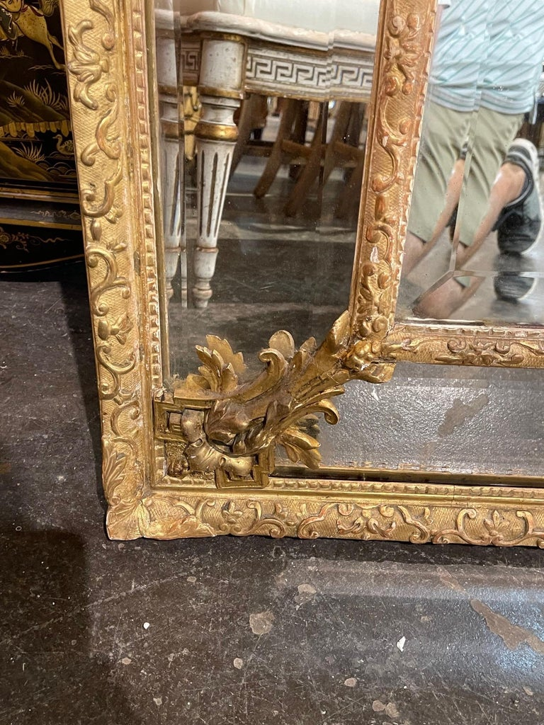 19th Century French Louis XVI Style Giltwood Cushion Mirror with Glass Panels For Sale 3