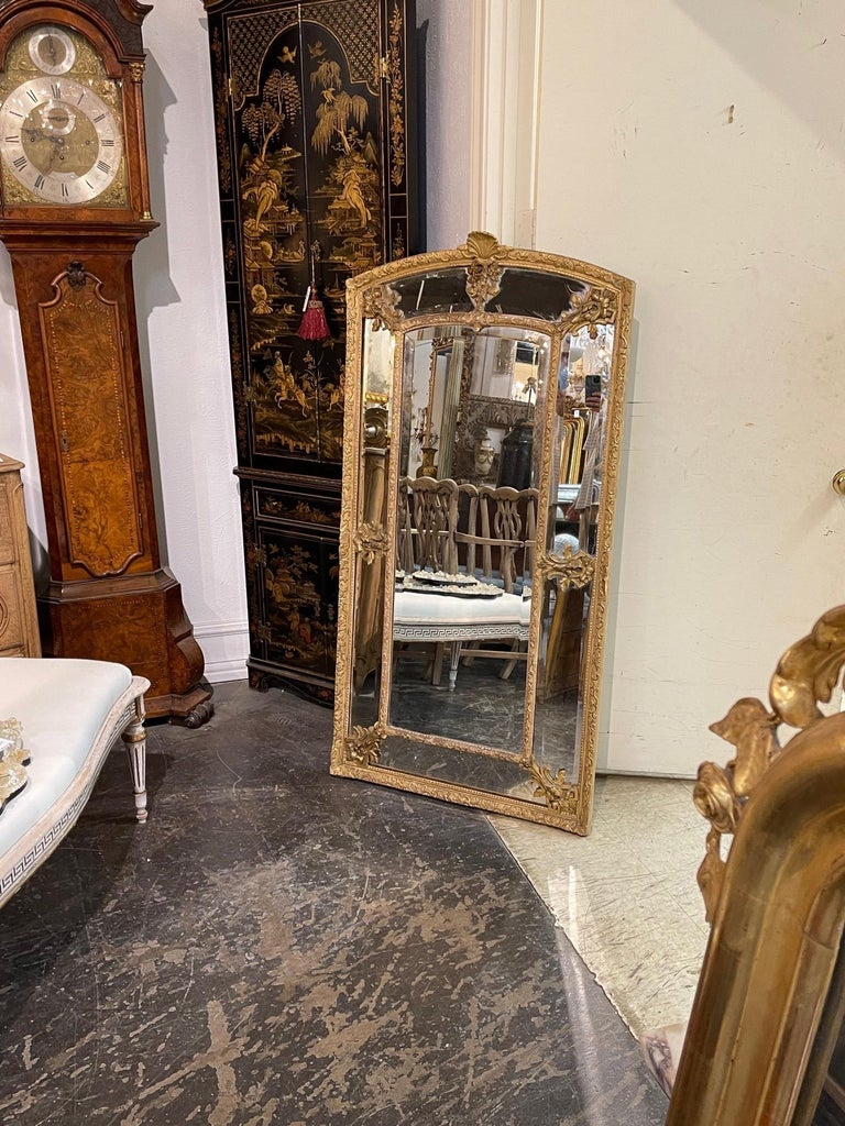 19th Century French Louis XVI Style Giltwood Cushion Mirror with Glass Panels For Sale 4