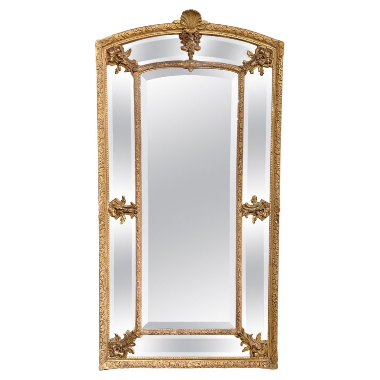 19th Century French Louis XVI Style Giltwood Cushion Mirror with Glass Panels For Sale