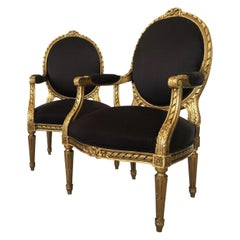 19th Century French Louis XVI Style Giltwood Fauteuils, Pair
