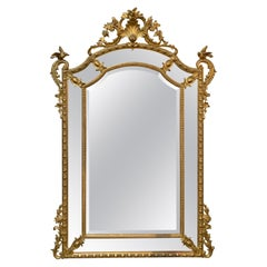 19th Century French Louis XVI Style Gold Water Gilded Cushion Mirror