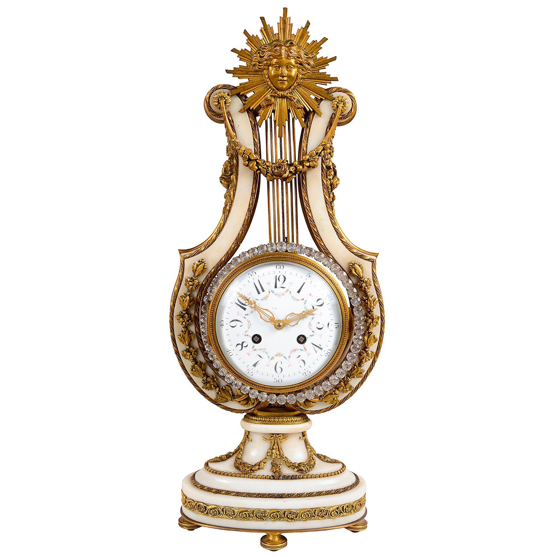 19th Century French Louis XVI Style Lyre Shape Clock