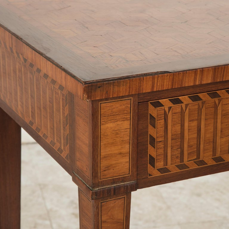 19th Century French Louis XVI Style Mahogany and Rosewood Marquetry Side Table For Sale 6