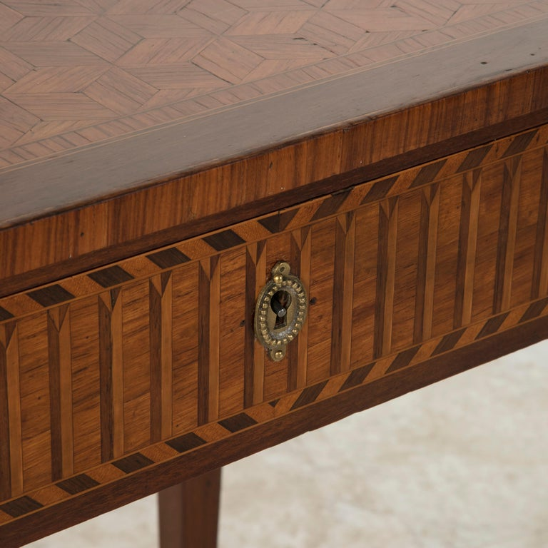 19th Century French Louis XVI Style Mahogany and Rosewood Marquetry Side Table For Sale 7