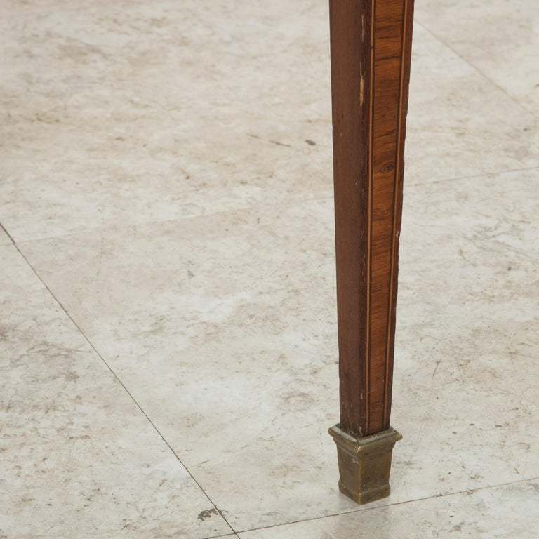 19th Century French Louis XVI Style Mahogany and Rosewood Marquetry Side Table For Sale 8