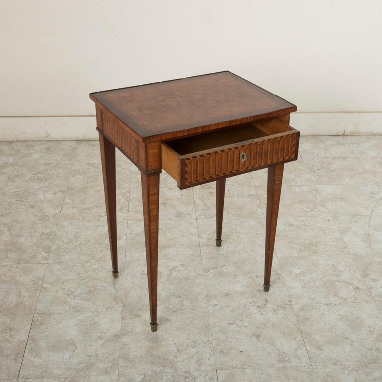 19th Century French Louis XVI Style Mahogany and Rosewood Marquetry Side Table For Sale 9