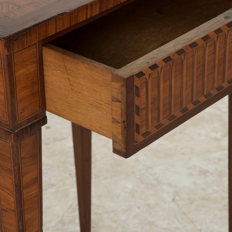 19th Century French Louis XVI Style Mahogany and Rosewood Marquetry Side Table For Sale 10