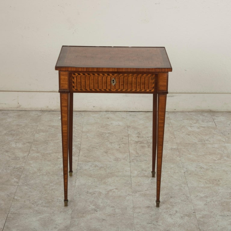 Inlay 19th Century French Louis XVI Style Mahogany and Rosewood Marquetry Side Table For Sale