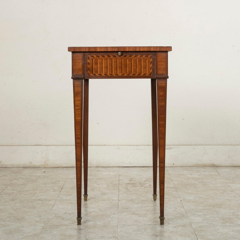 19th Century French Louis XVI Style Mahogany and Rosewood Marquetry Side Table In Good Condition For Sale In Fayetteville, AR