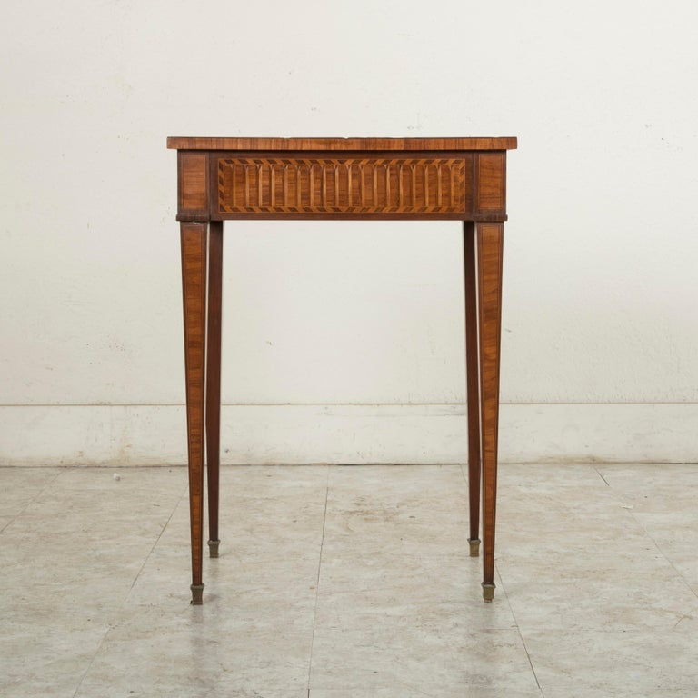 Bronze 19th Century French Louis XVI Style Mahogany and Rosewood Marquetry Side Table For Sale