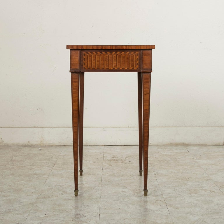 19th Century French Louis XVI Style Mahogany and Rosewood Marquetry Side Table For Sale 1
