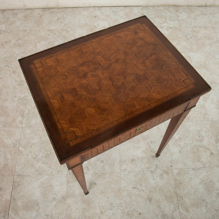 19th Century French Louis XVI Style Mahogany and Rosewood Marquetry Side Table For Sale 2