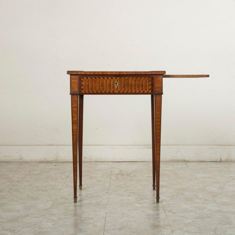 19th Century French Louis XVI Style Mahogany and Rosewood Marquetry Side Table For Sale 3