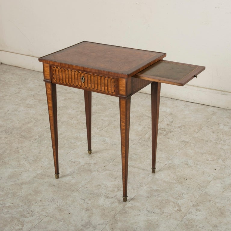 19th Century French Louis XVI Style Mahogany and Rosewood Marquetry Side Table For Sale 4