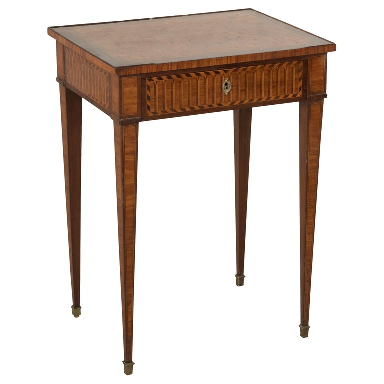 19th Century French Louis XVI Style Mahogany and Rosewood Marquetry Side Table For Sale
