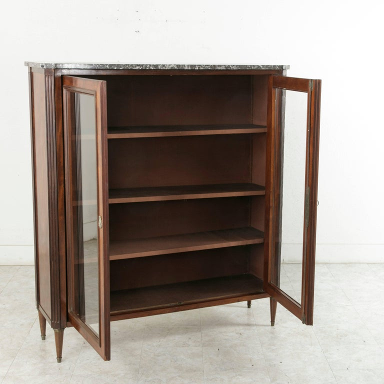 Louis Philippe Open Bookcase: 19th Century French Louis XVI Style Mahogany Bibliotheque
