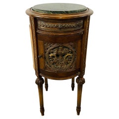 19th Century French Louis XVI Style Marble Top Nightstand, Side or End Table