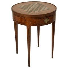 19th Century French Louis XVI Style Marquetry Game Table, Reversible Top