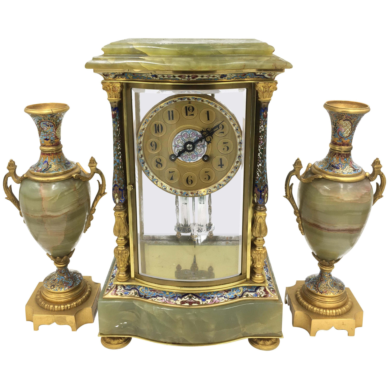 19th Century French Louis XVI Style Onyx Clock Set