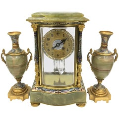 19th Century French Louis XVI Style Onyx Clock Set