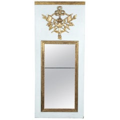 19th Century French Louis XVI Style Painted and Parcel-Gilt Trumeau Mirror