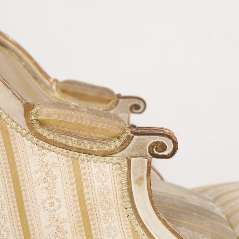 Late 19th Century 19th Century French Louis XVI Style Painted Duchesse Brisée Chaise Lounge For Sale