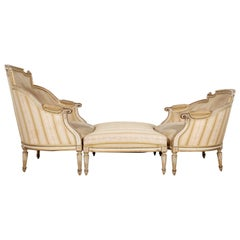 19th Century French Louis XVI Style Painted Duchesse Brisée Chaise Lounge