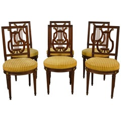 19th Century, French Louis XVI Style Six Wood Chairs and Two Wood Armchairs